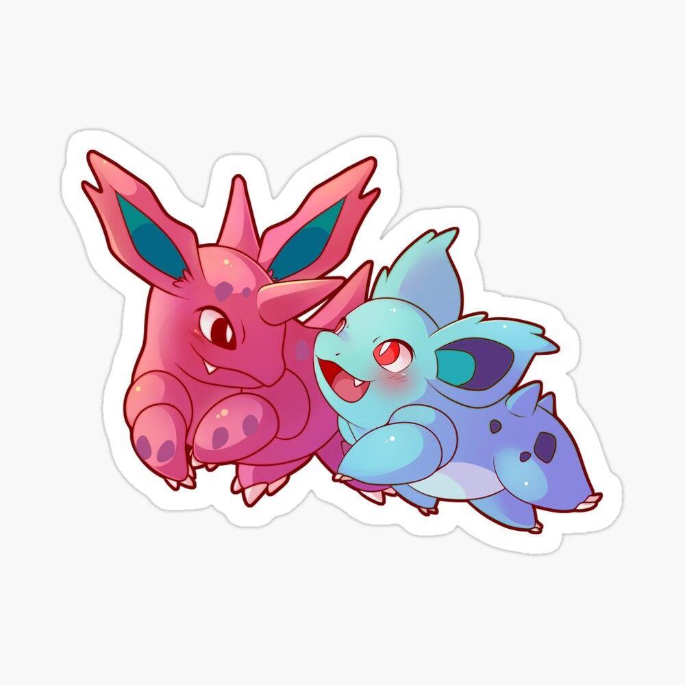 Photo of Pokemon Water Resistant Nidorino & Nidorina Sticker