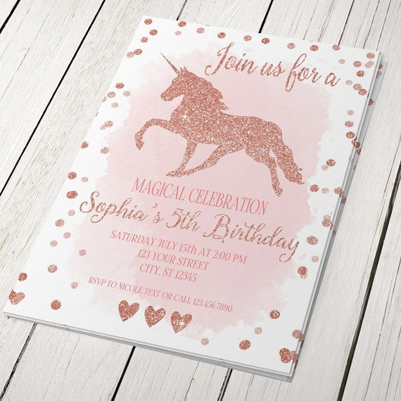 Unicorn rose gold glitter birthday invitation card magical birthday unicorn rose gold glitter birthday invitation card by suselis filmwisefo Image collections