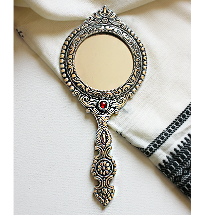Ornate Mirror Hand Held Mirror White Metal Frame Mirror Gift For Her Womens Fashion Home Decor Once Upon A Tea White Metal Handheld Mirror Hand Mirror