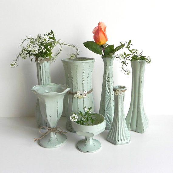 Shabby Chic Wedding Table Decorations: Sage Green SHABBY CHIC Vase Collection For Wedding Decor