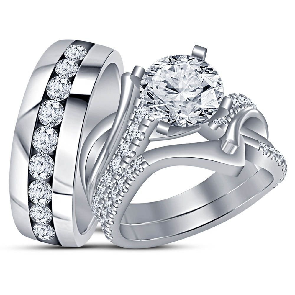 Pure 925 Silver White Gold Finish Diamond Engagement Ring