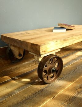Industrial Coffee Table With Cast Iron Wheels coffee table