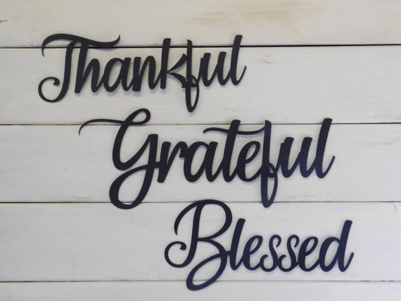 Thankful Grateful Blessed Set Of 3 Metal Signs Farmhouse Decor
