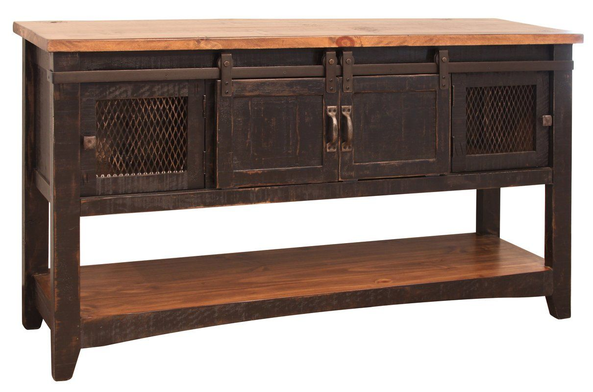 Coralie 2 Sliding Door Console Table Rustic Sofa Tables Black Sofa Table Furniture Direct