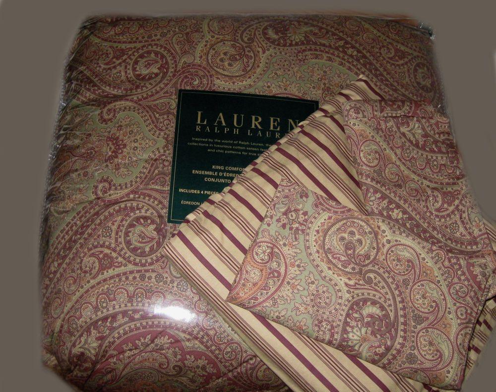 Ralph Lauren King Comforter Set 4pc Burgundy Wine Paisley