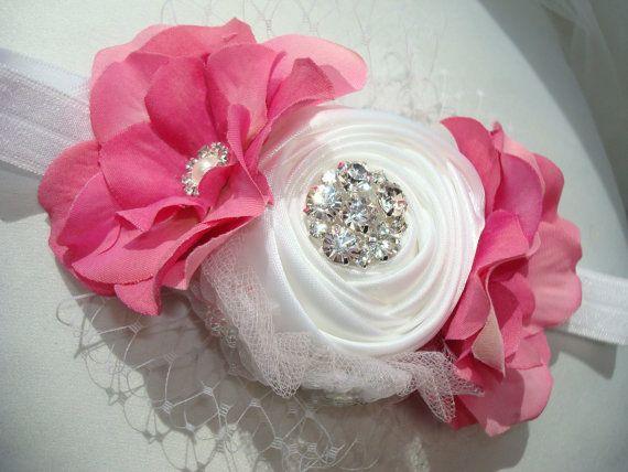 Baby Girl Flower Headband, White Headband, Baby Headband, Photo Prop, Headband / Stunning White and Pink Rosette Headband