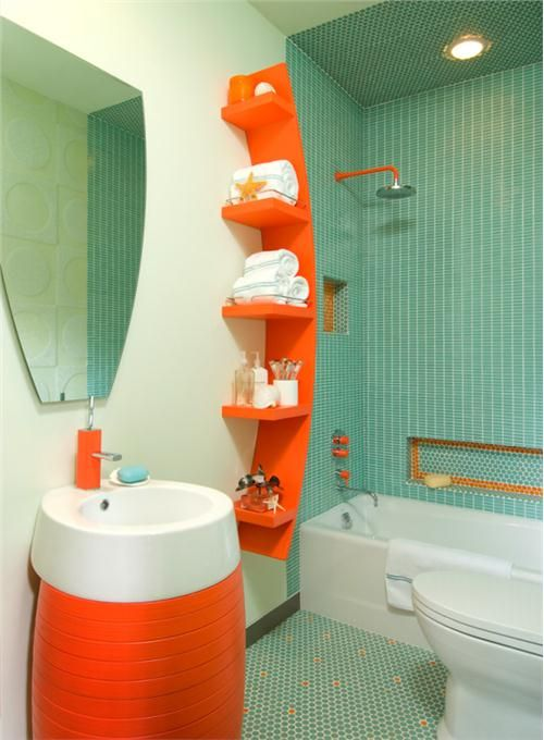 Stately Contemporary Bathroom By Mary Anne Smiley Orange Bathrooms Designs Orange Bathrooms Bathroom Design Small Modern