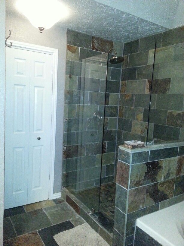 The Hord House Master Bathroom Slate Tile Doorless Shower Grey Bathroom Natural Stone We Will Slate Bathroom Tile Bathroom Shower Tile Doorless Shower