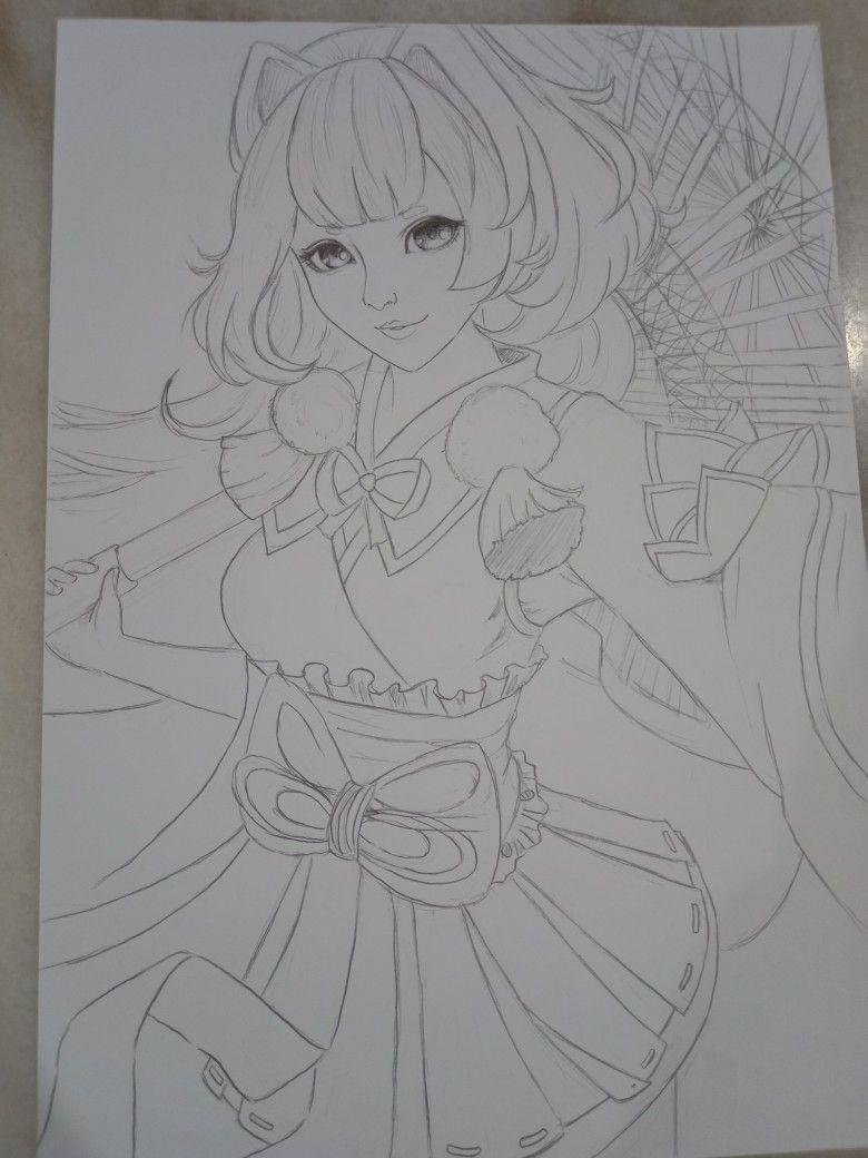 Kagura Cherry Witch Drawing Sketsa Sketsa Karakter Seni
