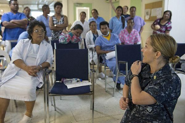 Lt. Patricia Butler demonstrates a technique to deliver a baby during a lesson on obstetric emergency procedures to nurses and midwives from Majuro Hospital during a Pacific Partnership 2013 nursing conference. #Navy #USNavy #AmericasNavy navy.com