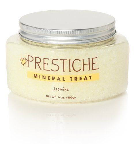 Mineral Treat - Jasmine by Prestiche. $49.99. Sense-inspiring Dead Sea salts infused with the finest essential oils for the best bath in the world. From toasty tea and sweet syrup to traditional Indian wedding garlands, jasmine is a delectable staple all across Asia Minor, Southeast Asia and the Pacific Islands. What happens when you're exposed to jasmine? Can you detect the scent of soft, white petals in the cool evening air? Do you feel harmonious, serendipitous, at ease...