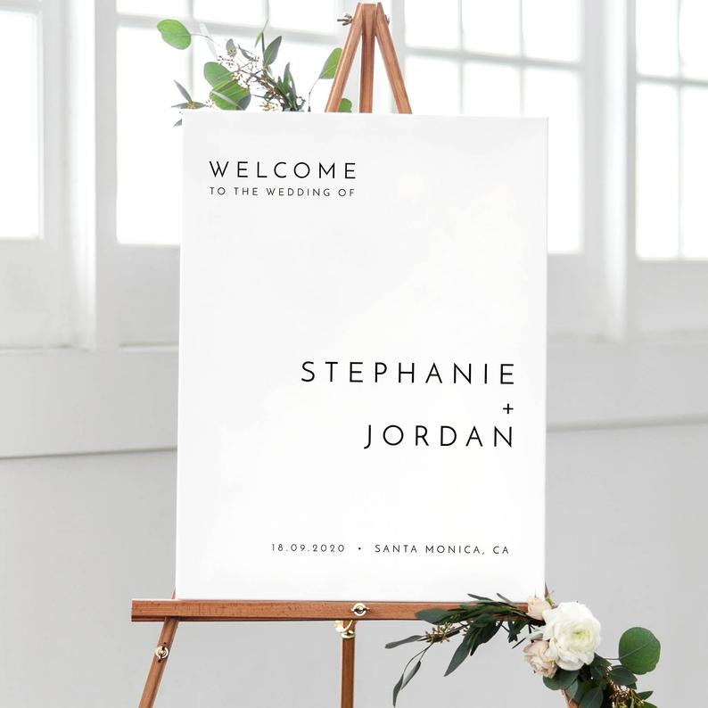 Minimalist Wedding Welcome Sign Template, Modern Wedding Welcome Sign, Printable Welcome Sign Wedding, Instant Download Wedding Signage