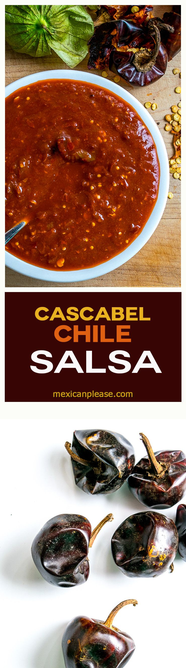 This Cascabel Chile Salsa limits the other ingredients so that the Cascabels can shine! It's worth trying if you've never used Cascabels before.  So good!  mexicanplease.com #authenticmexicansalsa
