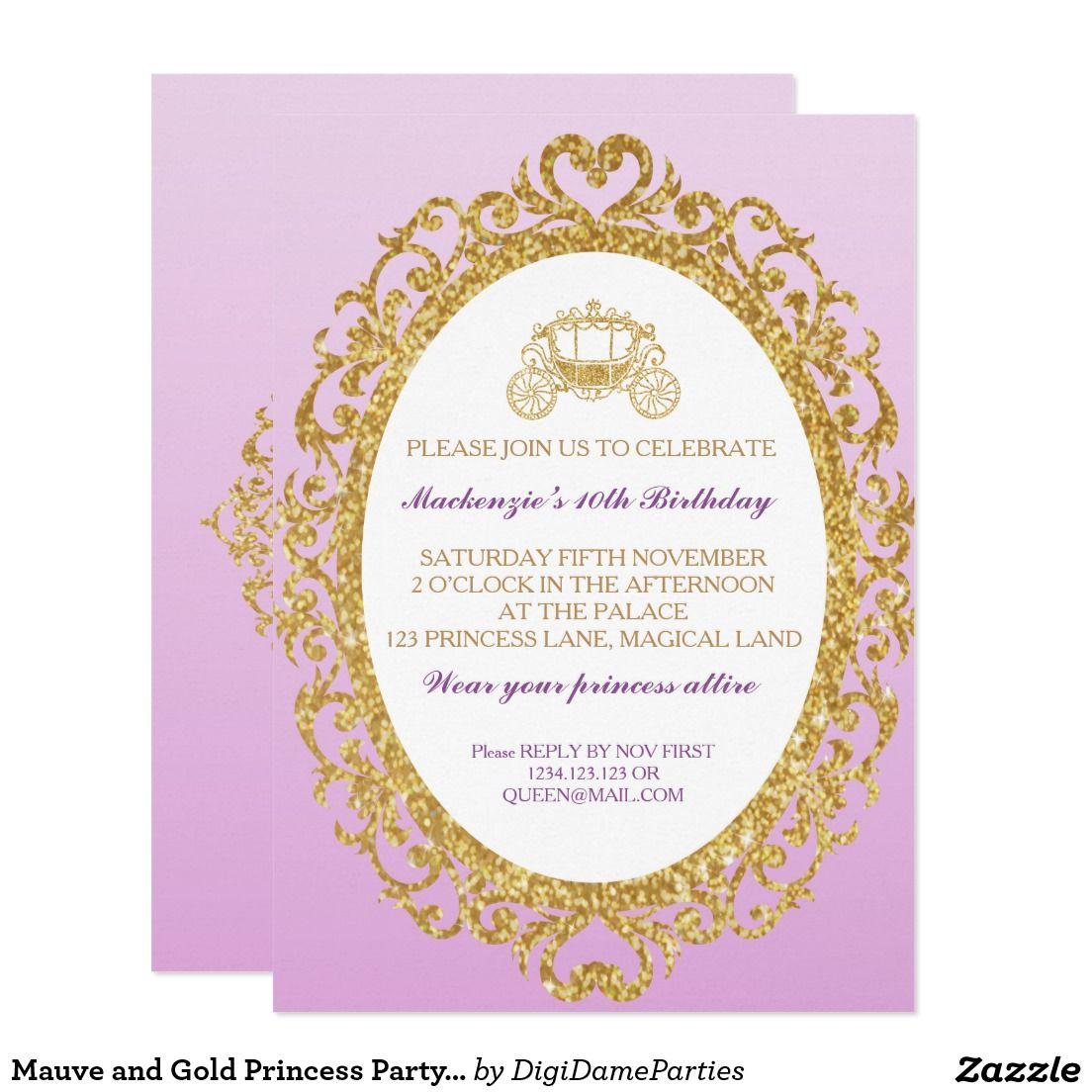 Mauve and Gold Princess Party Invitation   Princess party ...