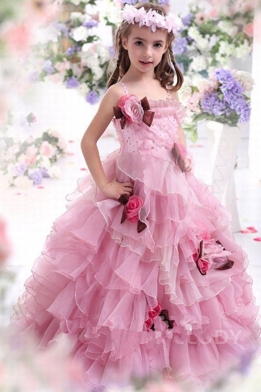 New Custom Made Pink Flower Girl Dress Formal Prom Wedding Ruffles