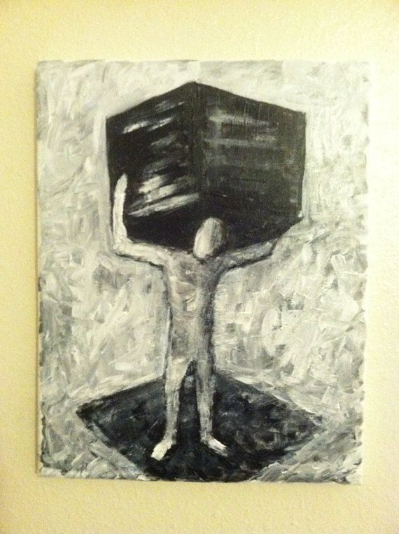 CUBE   original painting 11 x 14 acrylic on by PostPostMortem