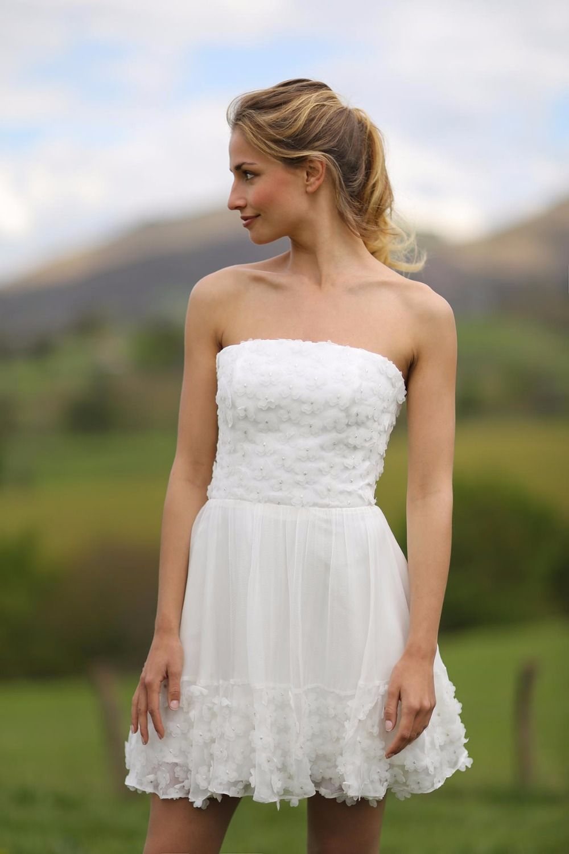 Click to Buy ucuc Informal Beach Short Wedding Dresses  Strapless