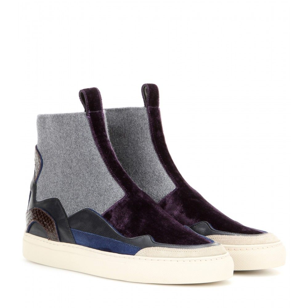 b7f612efac4 Velvet And Leather High-Top Slip-On Sneakers   Dries Van Noten -  mytheresa.com