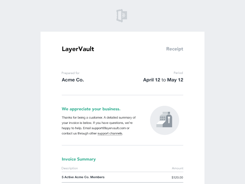 Layervault Email Invoice Email Templates Invoice Design Responsive Email Template