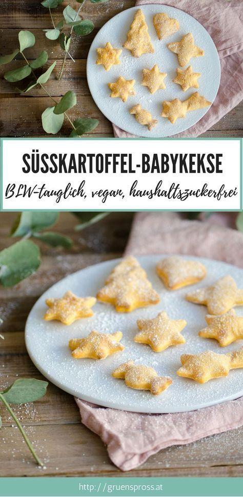 {Rezept} Vegane Süßkartoffel-Apfelmus-Babykekse #sugarfreerecipes
