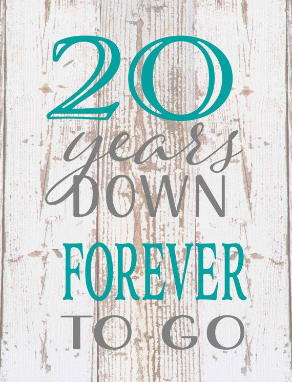 Twenty 20 Years Down Forever Any Year To Go Wood Sign Canvas Photo Clip 25th Wedding Anniversary