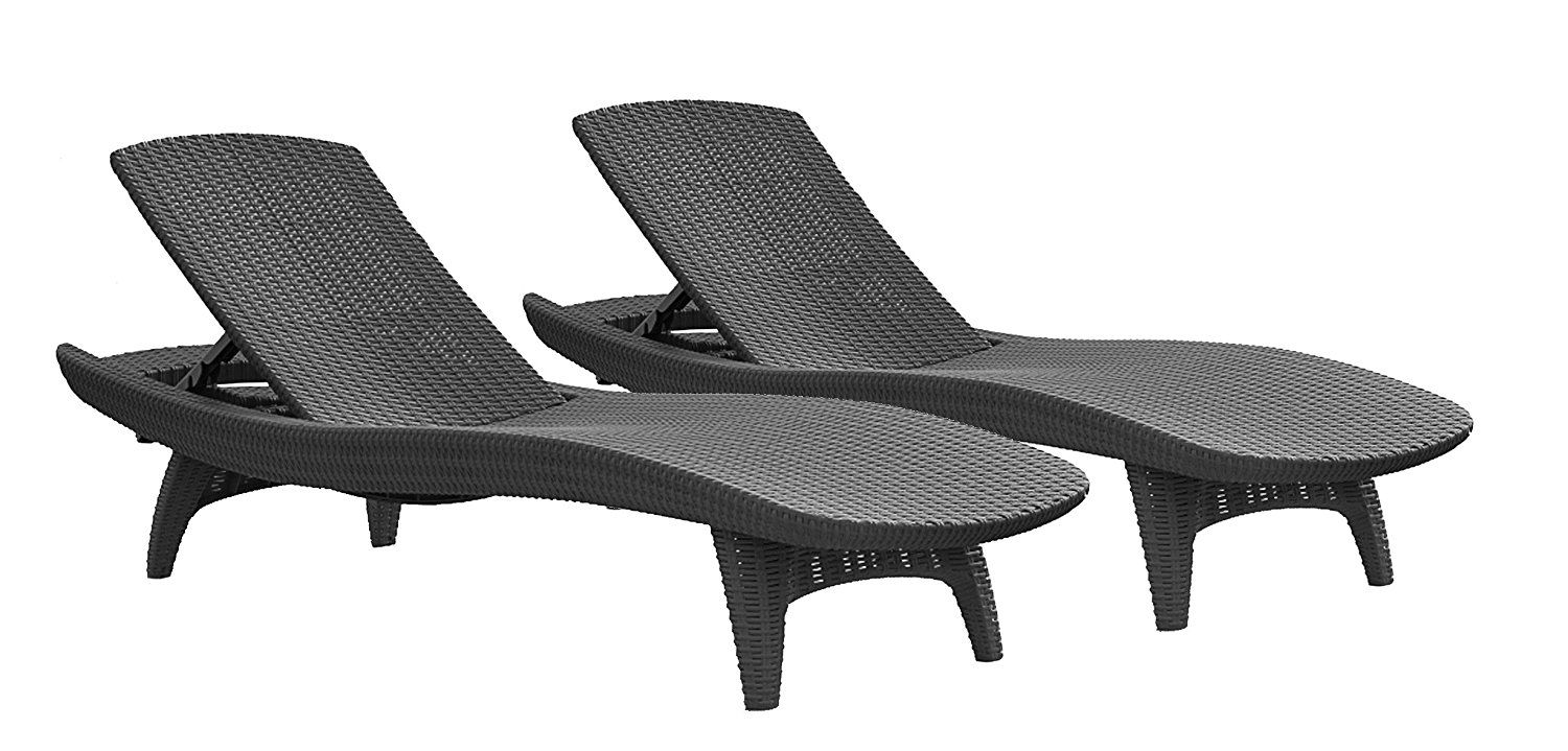 Amazon com keter pacific 2 pack all weather adjustable outdoor patio chaise lounge furniture graphite patio lounge chairs patio lawn garden