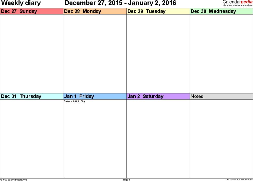 Weekly calendar 2016: template for Excel version 7, landscape, 53 ...