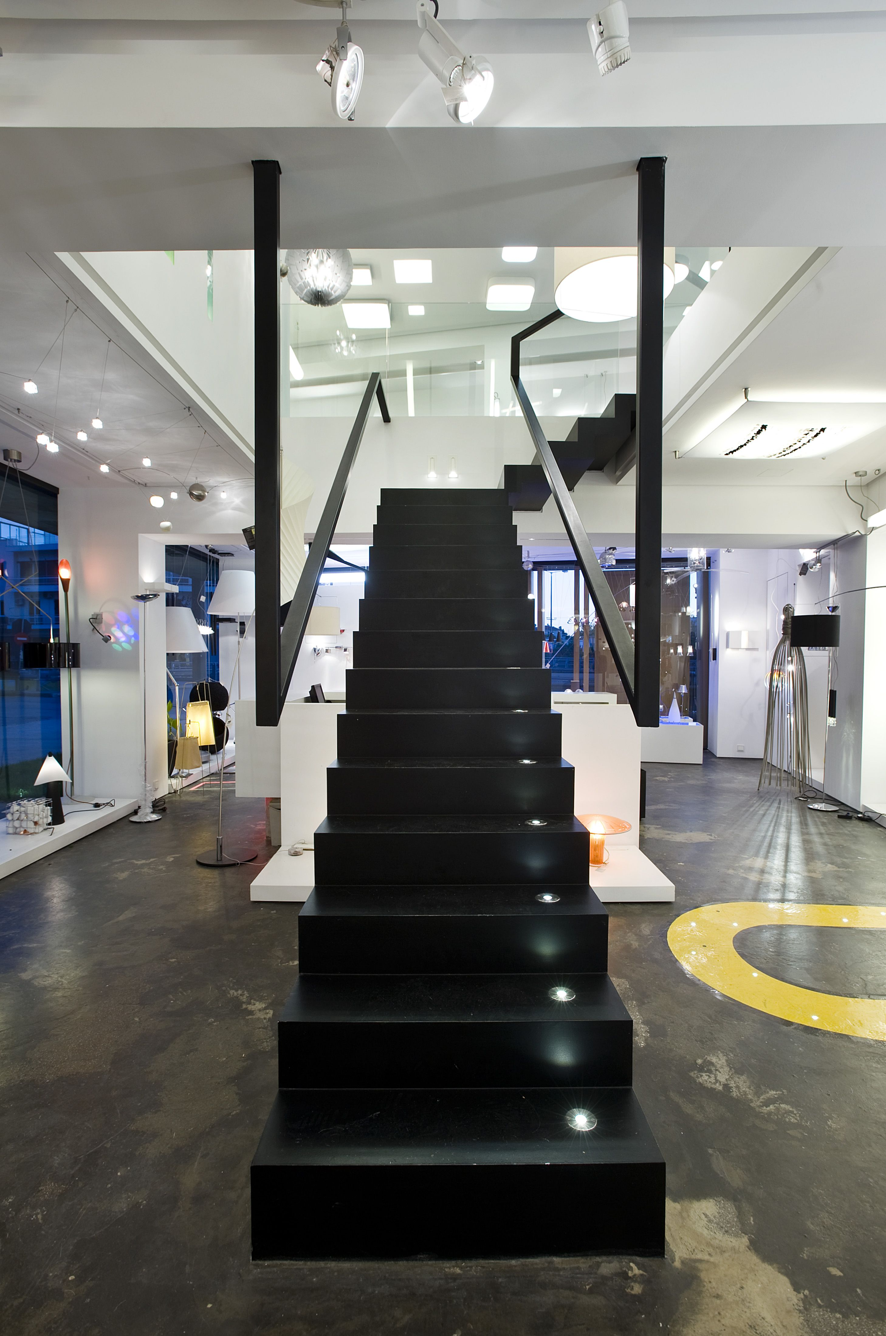 Halo architectural lighting showroom edje architects athens greece staircase