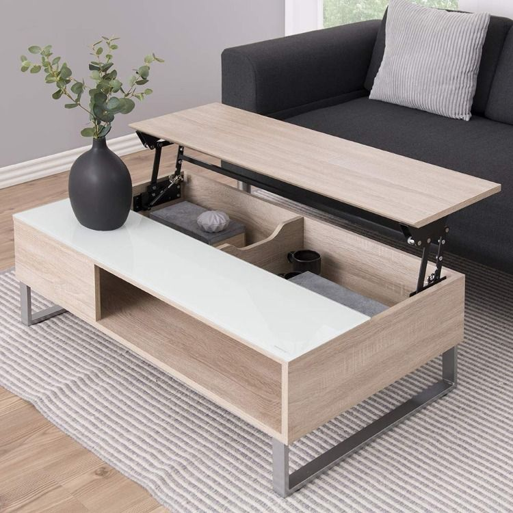 Table Basse Chene Et Verre Avec Plateau Relevable Table Basse Moderne Table Basse Design Table Chic En 2020 Table Basse Relevable Table Basse Table Basse Chene