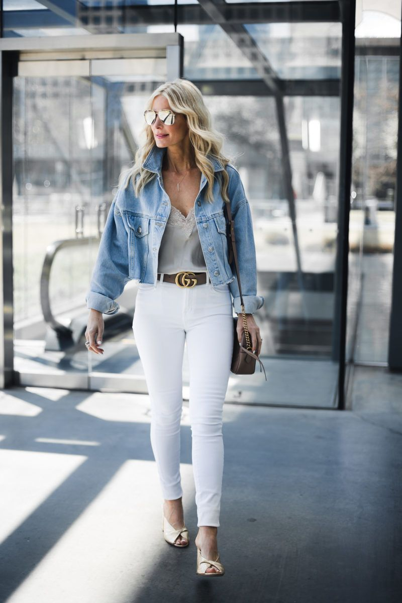 How To Wear A Denim Jacket Spring Jean Jacket Outfit Jean Jacket Outfits Spring Boston Outfits White Jeans Outfit