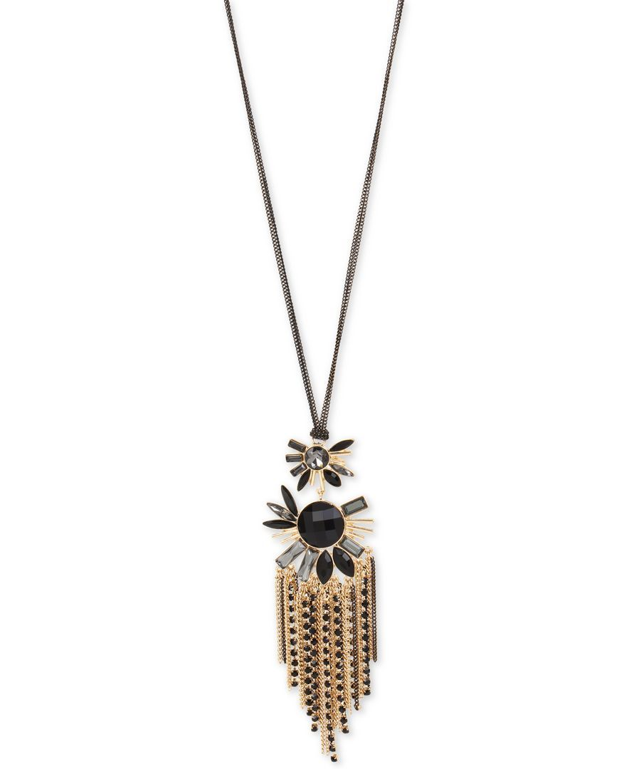 Inc International Concepts Gold-Tone Jet Stone Tassel Pendant Necklace, Only at Macy's