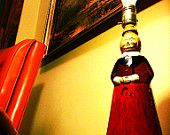1970's Painted Mrs. Butterworth Maple Syrup Bottle Lamp