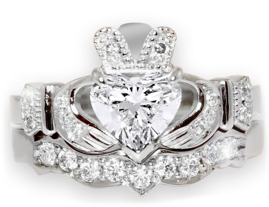 14K White Gold Diamond Claddagh Ring with Matching Wedding