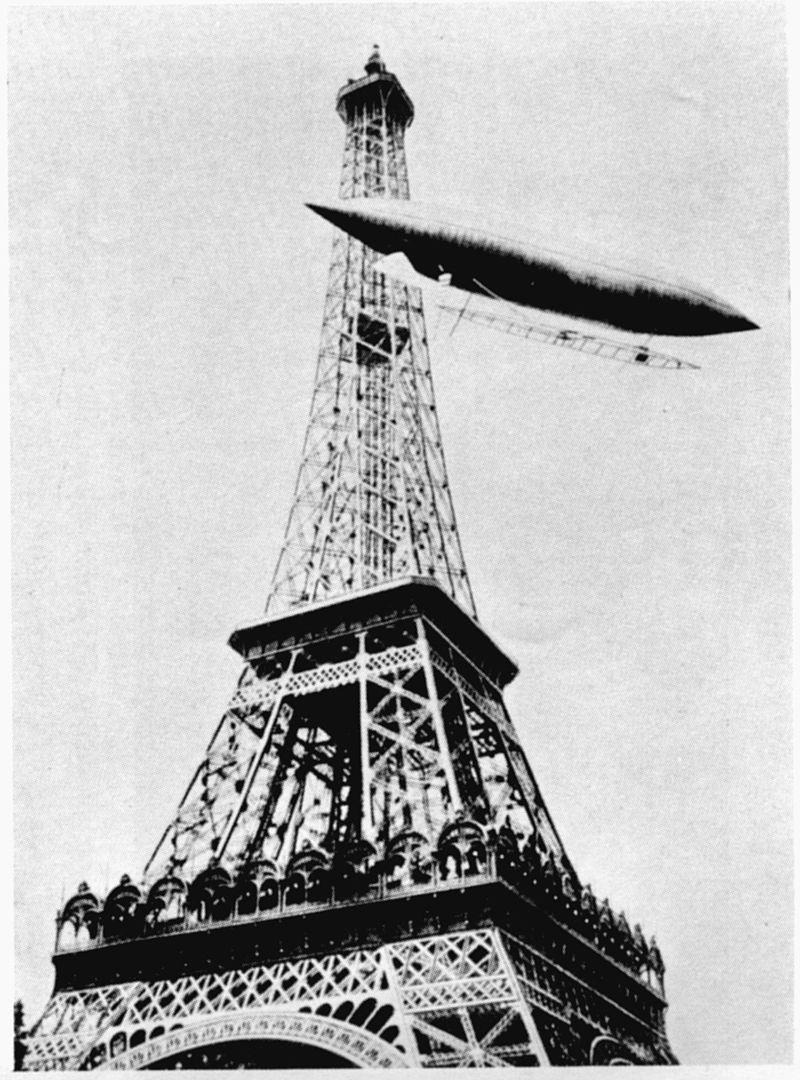 * Dirigível nº 5 * Santos Dumont contorna a Torre Eiffel. 13/Julho/1901.