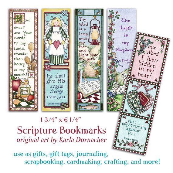 Five Bible BOOKMARKS INSTANT DOWNLOAD Scripture Verse Digital ...