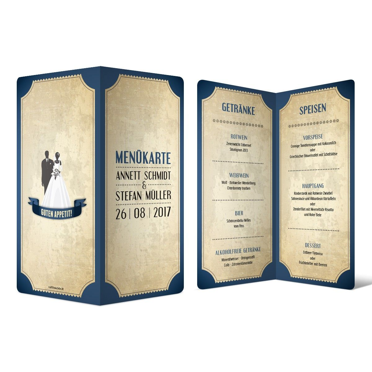 Menükarten zur Hochzeit - Vintage Brautpaar in Blau #menükarte #hochzeit #getränke #essen #speisen #drinks #mahlzeit #food #wedding #vintage #brautpaar #blau