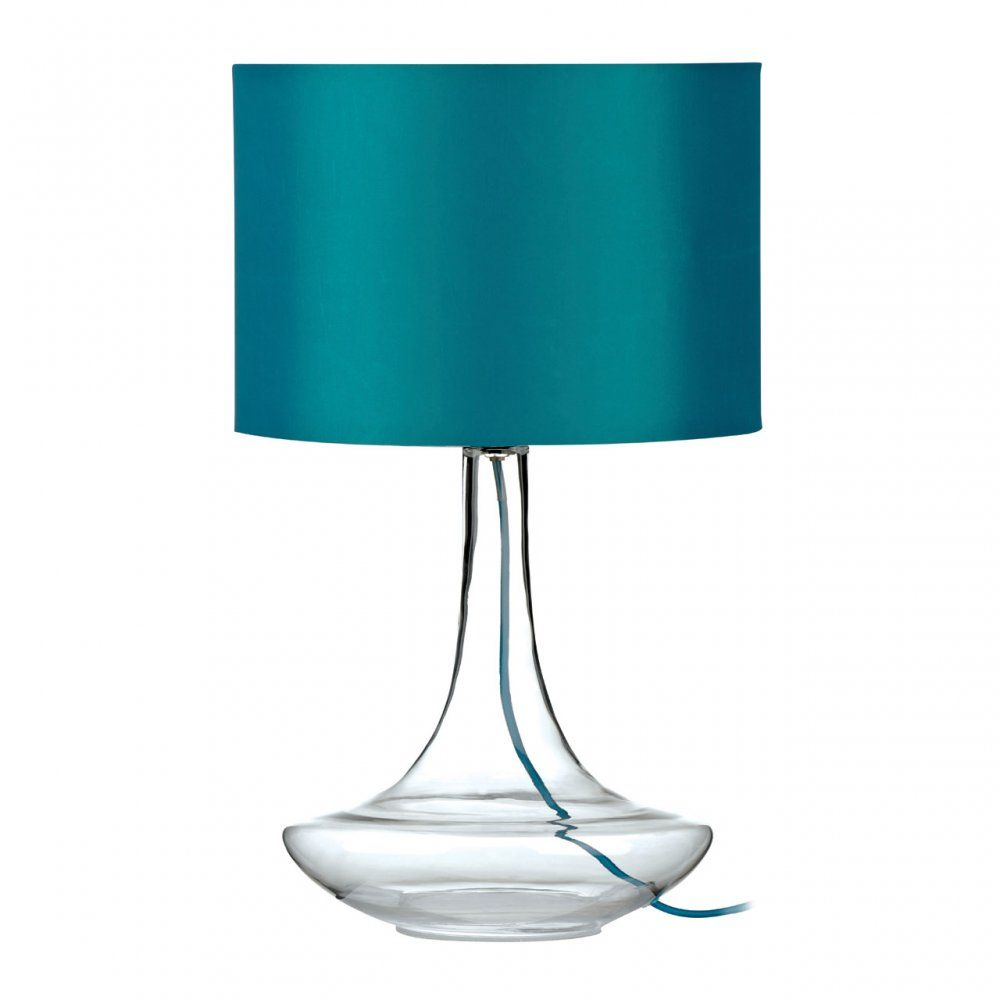 Tall Clear Glass Table Lamp |Teal Shade & Wire Flex | No place like ...