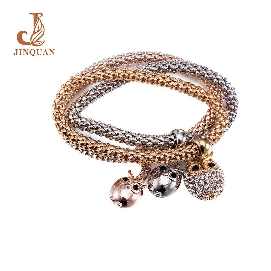 Jinquan fashion classic charm carter owl zinc alloy gold colour