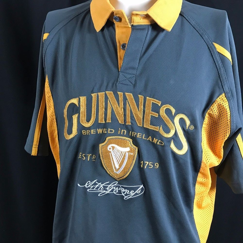 fb40fa3cdee Guinness Gray Polo Shirt Gold Harp Crest And Arthur Guinness Signature  White #Guinness #GraphicTee