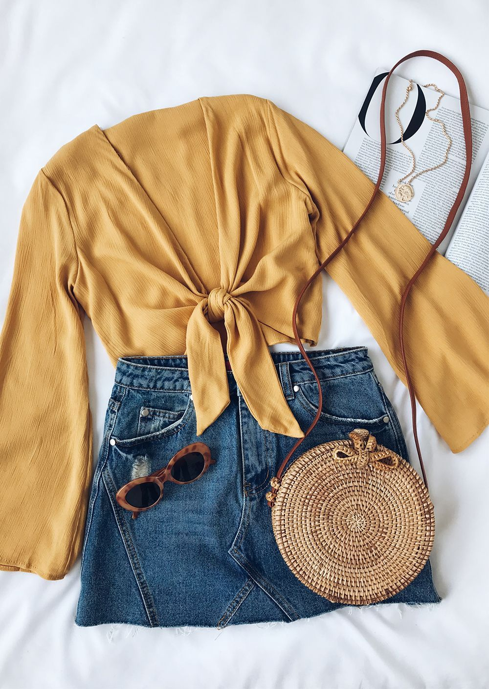Weekend Wishes Mustard Yellow Tie-Front Long Sleeve Crop Top #outfitgoals I woul... 5