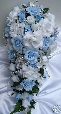 21pc Bridal bouquet wedding flower L.BLUE / SILVER | Bridal bouquets ...