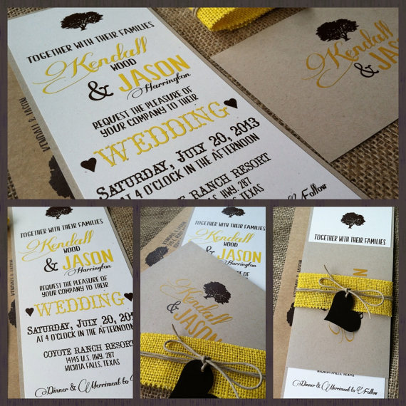 Wedding Invitations - Rustic Wood Collection - Modern - Yellow - Brown - Tree - Hemp Twine -Recycled - Eco Friendly
