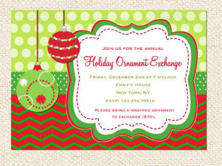 Holiday Ornament Exchange invitations by LollipopPrints on Etsy