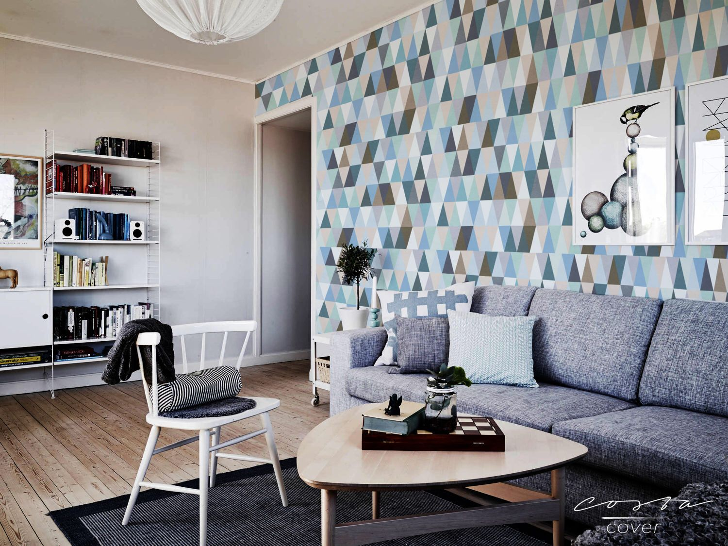 Wallpaper removable for apartment wall hanging Blue