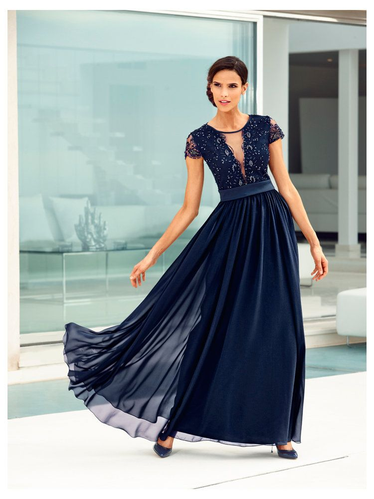 Robe cocktail longue voile