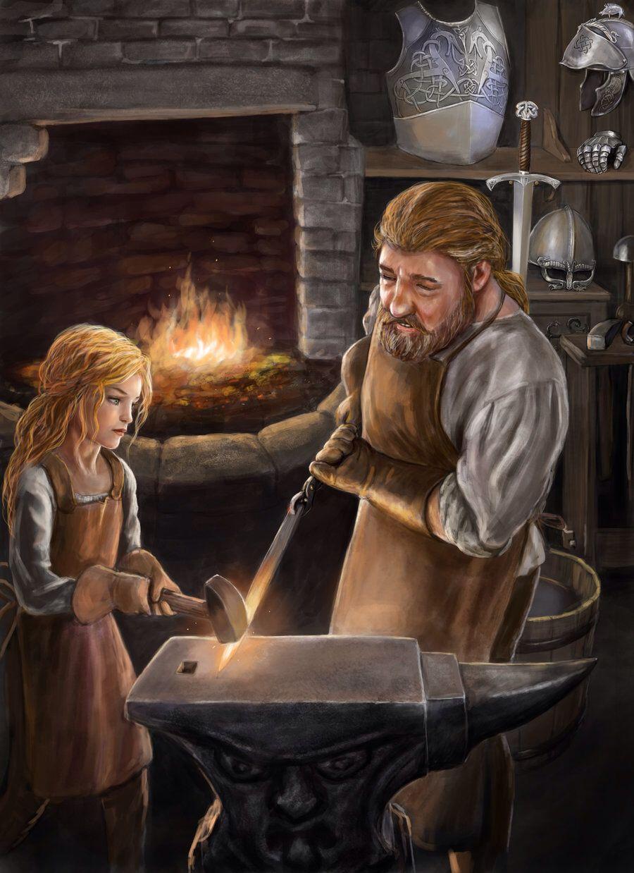 Min Grand Pere Avait Une Forge Dans Son Entreprise C Est Peut Etre Pour Ca Que Je Suis Tombee Amoureuse D Un F Fantasy Dwarf Blacksmithing Character Portraits