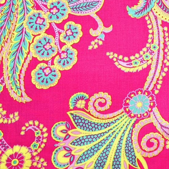 Poodle Fabric By Jennifer Paganelli Laminated Laminate Vinyl Tablecloth  Raincoat Bright Floral On Pink