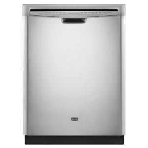 Maytag Jetclean Plus Front Control Dishwasher In Monochromatic Stainless Steel With Tub And Steam Cleaning Discontinued Mdb7749sbm The Home Depot Steel Tub Built In Dishwasher Stainless Steel Dishwasher
