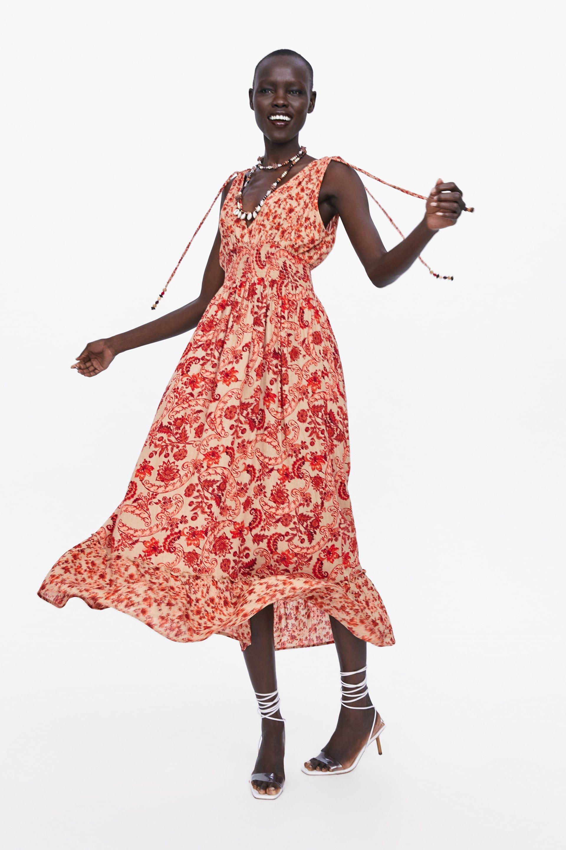 zara - woman - long printed dress | rotes kleid, kleid