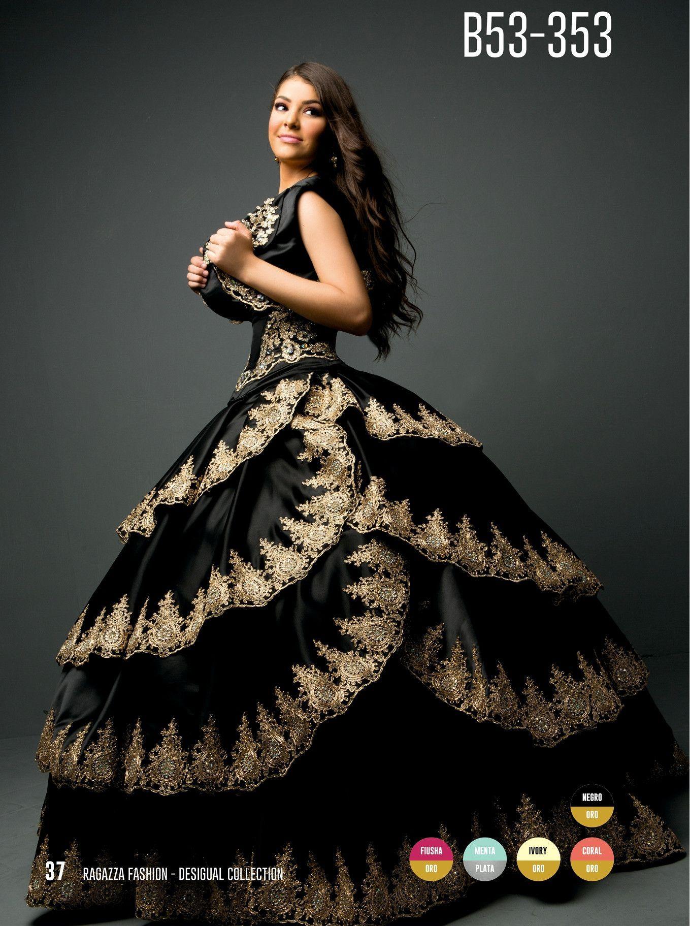 Black/Gold Appliqued Quinceanera Dress by Ragazza Fashion Style B53-353